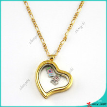 Gold Lazy Heart Glass Lockets for Fashion Accessories (FL16040834)