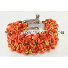 pulseira de paracord camo vermelho 550