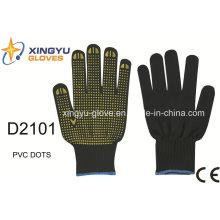 Poliéster Shell PVC Dots guantes de trabajo de seguridad (D2101)