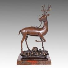 Животное Статуя Пятнистый Олень Украшения Бронзовая Скульптура Tpal-468