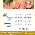 Мода новый дизайн губ шпильки с Gem лабретка кольца внутренней резьбой пирсинг ювелирные изделия