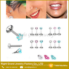 Moda novo design lábio stud com gem labret anéis interno rosca piercing jóias