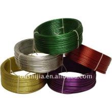 O PVC colorido revestiu o fio (fábrica)