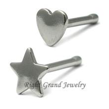La estrella de acero quirúrgico 316L clava la joyería del cuerpo de la nariz del corazón