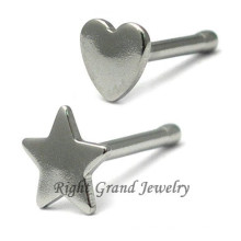 316L Surgical Steel Star Nose Studs Heart Nose Body Jewelry