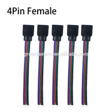 Conector hembra RGB de 4 pines Conector hembra Conector PCB de 4 pines Cable Conector para Flexible 5050/3528 RGB Tira de luz LED