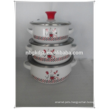 enamel cookware mini casserole sets with red PP knob and glass Lid and two side decal