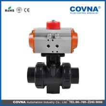 pvc double union pneumatic ball valve plastic water flow control valve