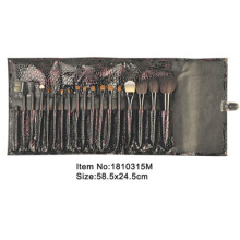 18pcs plastic handle makeup brush kit with matching color snake skin PU case