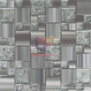 Gold Leaf Crystal Mix Grind Face Metal Mosaic (CFM902)