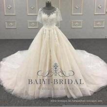 2018 Elegant eine Linie Brautkleider Alibaba kurzen Ärmeln Spitze weichen Tüll Brautkleid mit Knopf zurück
