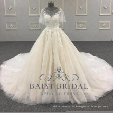 2018 Elegant A Line vestidos de boda Alibaba mangas cortas de encaje Soft Tulle vestido de novia con botón atrás