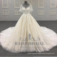 2018 Elegant A Line Wedding Gowns Alibaba Short Sleeves Lace Soft Tulle Bridal Dress With Button Back