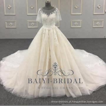 2018 Elegante A Linha De Vestidos De Casamento Alibaba Mangas Curtas Rendas Macio De Tule De Noiva Vestido Com Botão De Volta