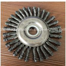 4 pulgadas de acero nudo de alambre rueda cepillo (YY-589)