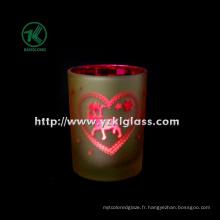 Coupe de bougie en verre double mur en couleur par SGS (8 * 10.5)