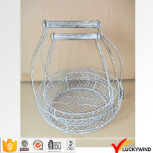 Round Set 2 Handmade Rustic Decorative Wire Mesh Basket