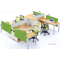 Office workstation for four people peach wood and warm white upholstery, Pro office furniture factory (JO-4046)