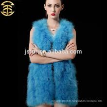 2015 chaude nouveau produit veste de fourrure de mode Chine vêtement de fourrure d'animaux authentique veleuse de plumes de dinde