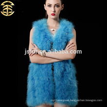 2015 hot new product fashion fur vest China animal fur clothes genuine turkey feather women vest