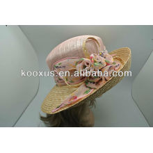 Promotion sinamay sisal hat with flower decorated