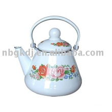 enamelware kettle with bakelite handle and full design