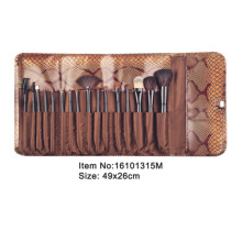 16pcs black plastic handle nylon/animal hair makeup brush set with brown snake skin case
