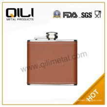 classic leather wrapped embossing stainless steel hip flask