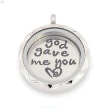 2015 fantaisie argent 22mm Dieu m'a donné que vous aimez les plaques flottantes pour médaillon de verre vivant 30mm