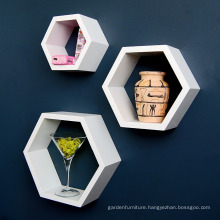 Set of 3 Hexagonal Design Honeycomb Lounge Wall Hanging Shelf