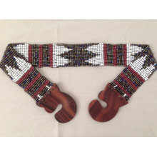 New Handmade White Multi Color Glass Beads Navajo Chevron Tribal Aztec Style Stretchy Beaded Belt with Wood Buckle.