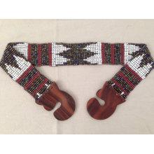 Новые ручные белые многоцветные стеклянные бусины Navajo Chevron Tribal Aztec Style Stretchy Baded Belt with Wood Buckle.