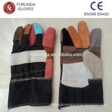 Cheap mix-color cow split leather work gloves with denim fabric back