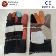 Luvas de trabalho de couro dividido vaca mistura-cor baratos com tecido denim volta