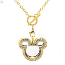 Bonito medalhão de Aço Inoxidável fashion18k colares de corrente de ouro maciço 2018
