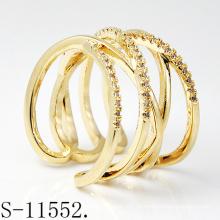 Modeschmuck Personalisierte Design 925 Sterling Silber Frauen Ring mit Vergoldung (S-11552)