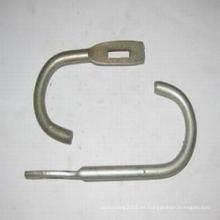 Gancho cuadrado y redondo de acero usado en la construcción