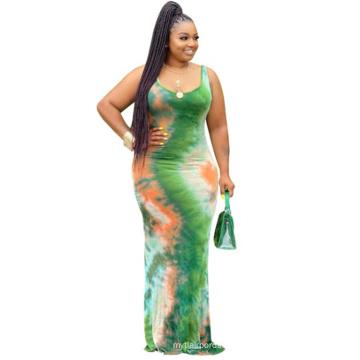 Small MOQ Wholesale new arrival sleeveless tye-dye pleated bodycon women dress casual party ladies plus size maxi dress