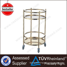 NSF SS304/201 Gold-Plated Beverage Stainless Steel Cart With Wheels