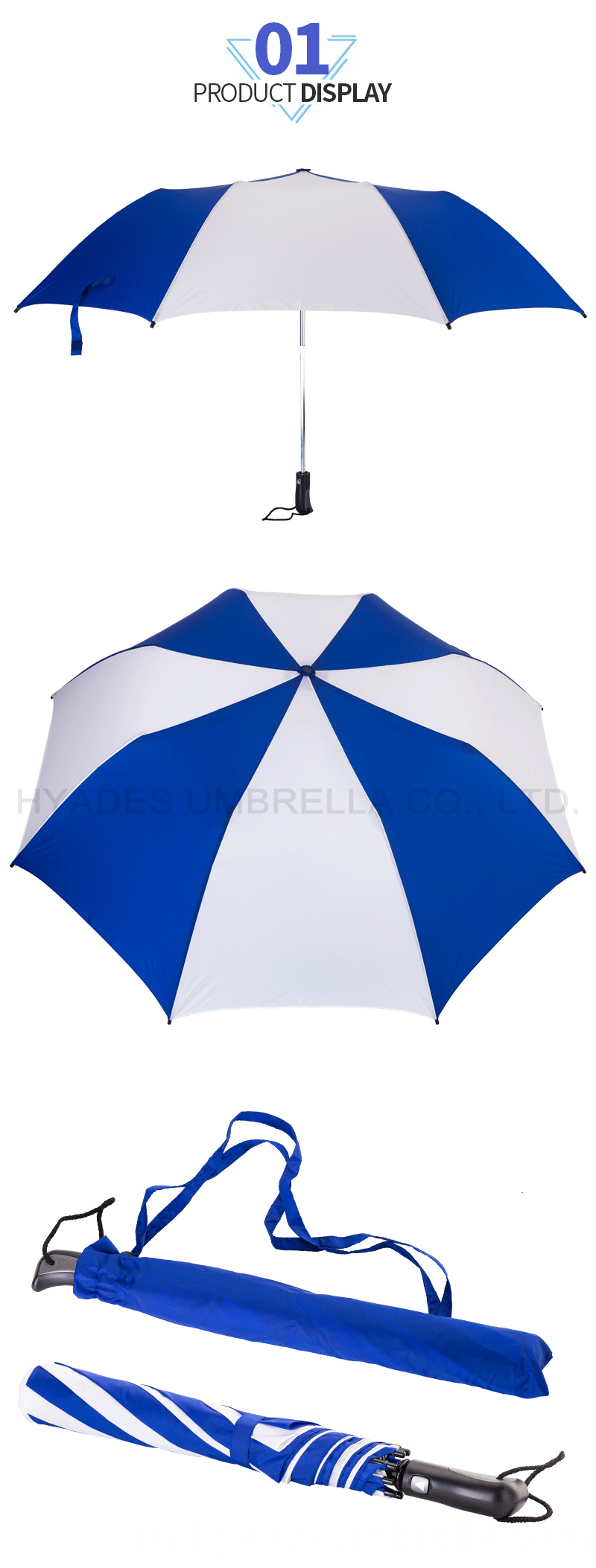 2 Folding Umbrella Windproof Fiberglass Frame