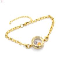 Hermosa cadena de perlas de oro de cristal cadena de acero inoxidable colgante flotante pulsera diseño de la joyería