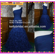 2014 Hot sale royal blue mermaid fishtail evening dress with one sholuder