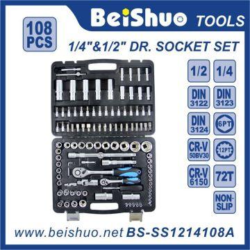 108 PCS 1/4 '' 1 / 2''dr. Conjunto de soquete de ferramentas manuais Cr-V