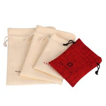 Customized cheap red linen bag drawstring