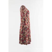Пышная юбка с рукавами 3/4 и принтом из джерси