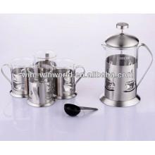 Presse à café française faite sur commande de verre résistant à la chaleur de haute qualité 800ml