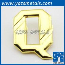 Glänzendes Alphabet Revers Pin Gold Platte für Geschenk Promotion