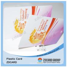 Tarjeta plástica de la identificación del PVC con la etiqueta engomada del holograma