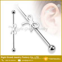 316L Surgical Steel Ribbon bow Industrial Barbell Jeweled