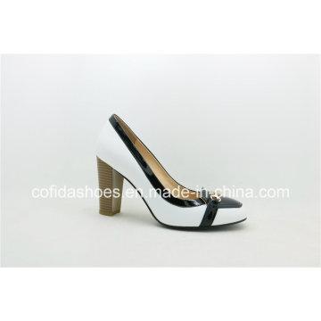 European Style Chunky Heel Lady Leather Fashion Shoes